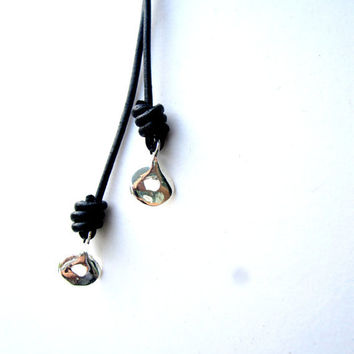 Mens Leather Necklace Lariat Necklace Black Silver Mens Necklace