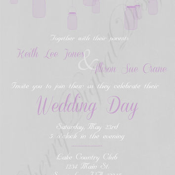 Mason Jar Printable Custom Wedding Invitation Purple and Gray. Fancy Custom wedding invitation.  Yellow and gray invitation formal party