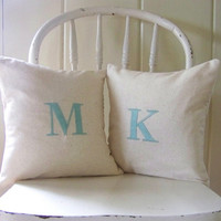 set of 2 initial pillows / aqua / monogram / letter pillow / throw pillow / home decor / engagement / wedding / anniversary / gift idea /