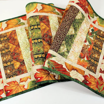 Fall Leaves Table Runner Quilt, Orange, Green, Brown with Gold Highlights, Quilted Table Runner, Autumn Quilt, Quiltsy Handmade