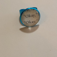 """The Fault in Our Stars """"Okay, okayl"""" Charm ring made using an Actual Book Page"""