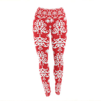 "Miranda Mol ""Ornate Trees Red"" White Holiday Yoga Leggings"