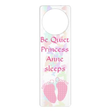 Customizable baby sleeping feet door knob hanger