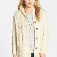 Junior Women's Dreamers by Debut Cable Knit Hooded Cardigan
