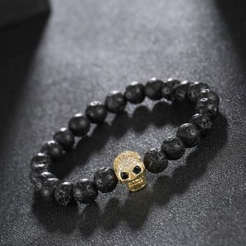 Men's Natural Stone Bead Skull Bracelet
