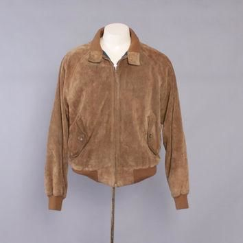 Vintage 90s POLO Jacket / 1990s RALPH LAUREN Men's Brown Suede Cafe Racer Bomber Leath