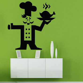 Wall Decals Vinyl Decal Sticker Art Kitchen Decor Chef Cook Hot Chicken Kj425