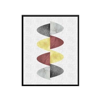 Abstract wall art - Abstract poster, Mid century modern art, Scandinavian design, geometric art, Watercolor abstract, textured art, Home art