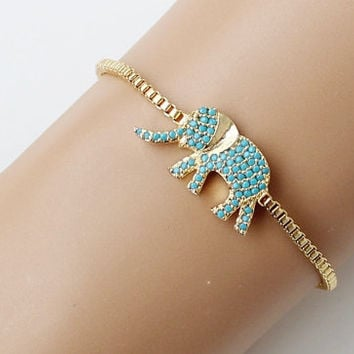 Turquoise gold, elephant bracelet, lucky elephant, zircon, adjustable bracelet, fashion jewelry, christmas gift, gift for her