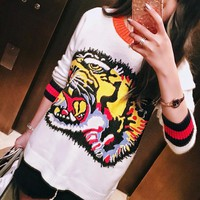 """Gucci"" Women Multicolor Letter Tiger Head Pattern Loose Long Sleeve Knitwear Sweater Tops"