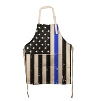 Distressed Thin Blue Line American Flag All Over Apron