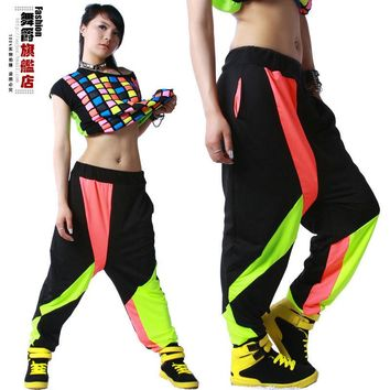 New fashion Brand Harem Hip Hop Dance Pants Sweatpants Costumes female stage performance wear harem Neon jazz trousers