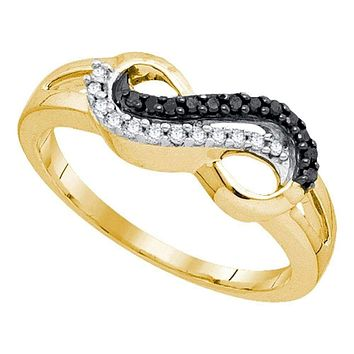 10kt Yellow Gold Women's Round Black Color Enhanced Diamond Infinity Ring 1/6 Cttw - FREE Shipping (US/CAN)