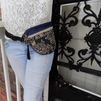 Black Aztec and Denim Fanny Pack with Black Tassle- Free Shipping to Continental US