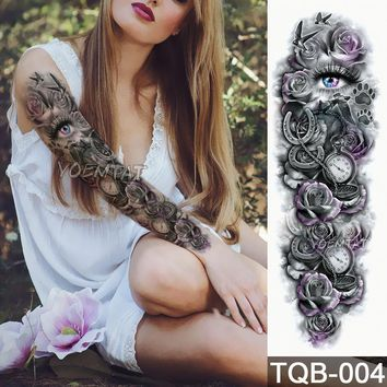 New 1 Piece Temporary Tattoo Sticker Mechanical rose eyes pattern Full Flower Tattoo with Arm Body Art Big Large Fake Tattoo