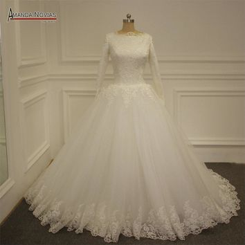 Puffy Ball Gown Long Sleeves Wedding Dress