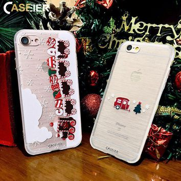 CASEIER Christmas Phone Case For iPhone X Soft TPU Cover For iPhone 7 7 Plus Shell 3D Relief Luxury Funda  Accessories Cute Capa