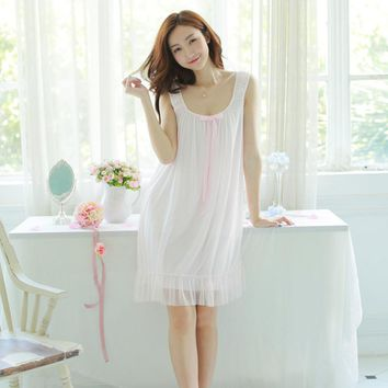 Womens Sweet Retro Palace Sling Summer Nightdress Sleevelesss Cute White Silk Nightgowns Women Home Sleep Dress For Sleeping