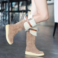 Winter Students Boots Rubber Soled Martin Boots Suede Women Long Warm Boots (For Choose:3 Color 6 Size) = 1946706052