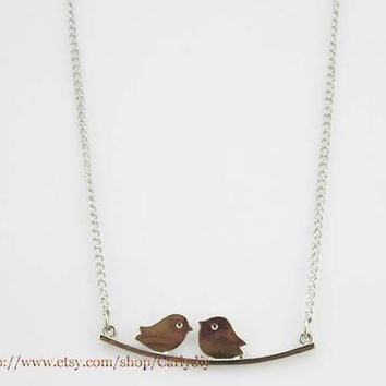 Love birds Necklace , twin birds pendant , birds on a branch necklace , Lovebird necklace , two bird necklace
