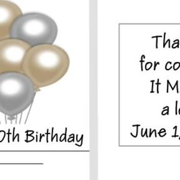 20 Gold and Silver Balloon Birthday Party Matchbook Mint Favors