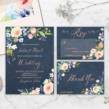 Floral Wedding Invitation Printable Navy Blush Wedding Suite Rose Gold Boho Wedding Invite Watercolor Flower Custom Wedding Set Digital File