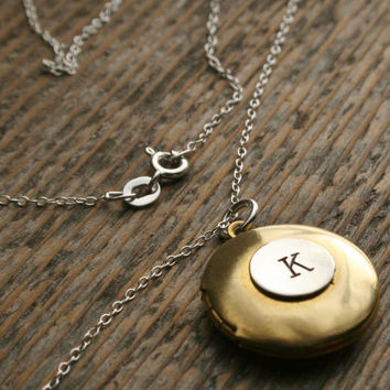 Letter Initial Necklace Sterling Silver Chain BRASS Locket Sterling Charm Pendant  Bridesmaid Gift Wedding New Mom Mother Alphabet