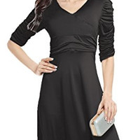 Women's Classic 3/4 Sleeve V-Neck Ruched Waist Casual Cocktail Swing Party Dress
