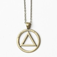 ANTIQUE GOLD CIRCLE WITH A TRIANGLE NECKLACE