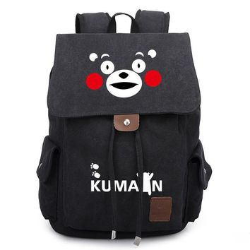 Kumamon Cute Bear Unisex Bookbag Canvas Backpacks Shoulder Bag Cos Anime Travel Bag SchoolBag