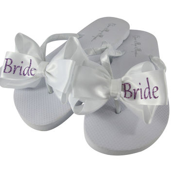 Bride Flip Flops with White Sandals and Satin bows in Lavender Purple Glitter