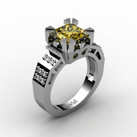 Modern Vintage 14K White Gold 2.0 Carat Princess Yellow Sapphire Diamond Solitaire Ring R1023-14KWGDYS