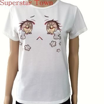 Harajuku Japanese Kawaii Lolita Girls Cherry Blossom Tears Big Eyes Tops T shirt Camiseta Feminina Casual School Clothes