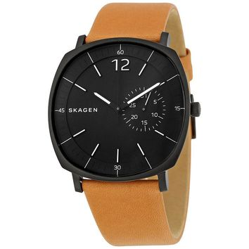 Skagen Rungsted Black Dial Tan Leather Mens Watch SKW6257