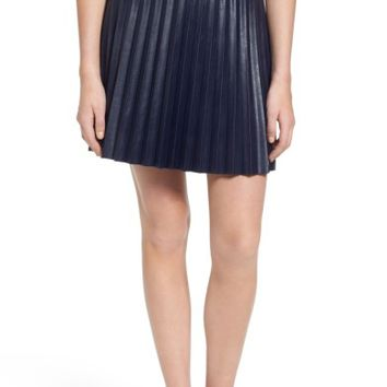J.Crew Pleat Faux Leather Miniskirt (Regular & Petite) | Nordstrom