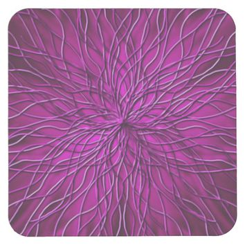 Purple String pattern Square Paper Coaster