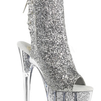 Silver Glitter Stripper Ankle Boot | Sassy Assy Clubwear