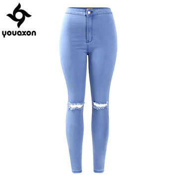 2042 Youaxon Women`s Fall Winter New Fashion Stretch Ripped Knees Distressed Skinny Denim Jean Pants High Waist Jeans Woman