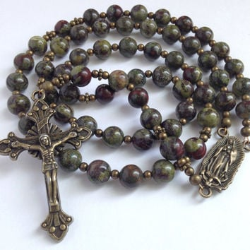 Unique Rosary, Dragon Blood Jasper, Gemstone Rosary, Catholic Rosary, Our Lady of Guadalupe, Bronze Crucifix, Green Rosary, Catholic Gift
