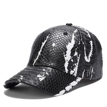 Trendy Winter Jacket 2018 New Dad Caps Male Simple Leather Baseball Cap Snake Skin Leather Hat Casual Snapback Hat Gift For Father Or Boys AT_92_12