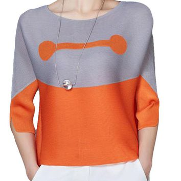 Two-tone Patchwork O-neck Half Sleeve Shirt