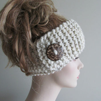 Wool Knit Headbands Button Grey Wheat Earwarmers Spring Fall Winter Accessories Headcovers Womens Girls Headwraps