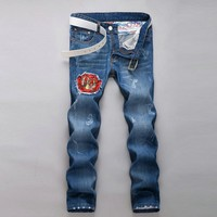 Winter Stylish Strong Character Men Pants Men's Fashion Korean Jeans [6528535043]