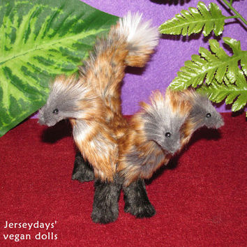Hydra dragon posable beautiful faux fur fantasy myth gift lucky charm pet plush animal miniature doll handmade vegan Jerseydays