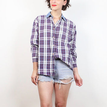 Vintage 90s Shirt Denim Chambray Collar Plaid Shirt 1990s Soft Grunge Button Down Collared Shirt Normcore Blouse Long Sleeve Top M L Large