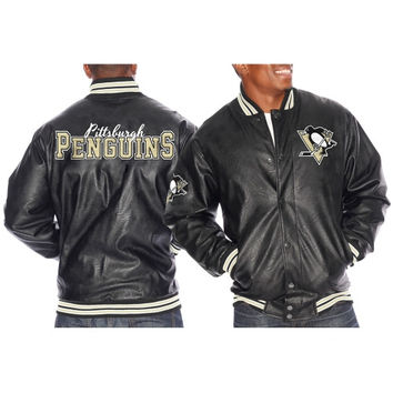 Pittsburgh Penguins Knuckleball Faux Leather Varsity Jacket – Black