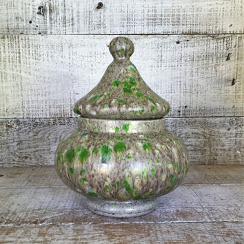Ginger Jar Vintage Ceramic Urn Hand Painted Lidded Ginger Jar Ceramic Jar Splatter Paint Trinket Box Mid Century Decor Retro Canister