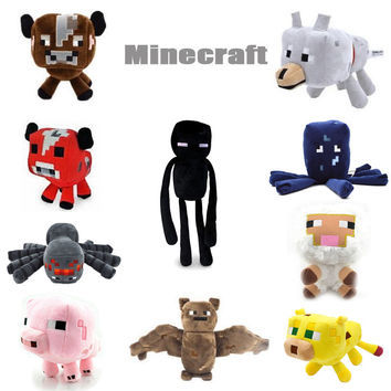 New Minecraft Plush Toys Enderman Ocelot Pig Sheep Bat Mooshroom Squid Spider Wolf Animal soft stuffed dolls kids toy gift
