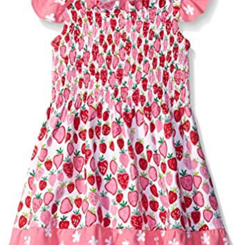 Hatley Little Girls Strawberry Sundae - Mix Match Smocked Dress, Pink, 7