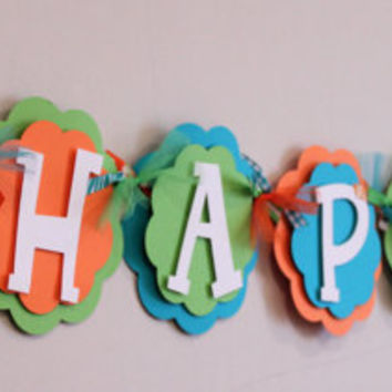 Dinosaur Turquoise Blue Lime Green and Orange Dino Name or It's A Boy Banner Boy Party Decorations Baby Shower